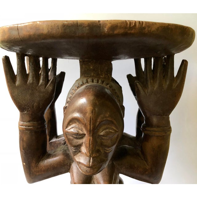 Early 20th Century African Songye-Luba Tribal Male Female Caryatid Figural Stool For Sale - Image 6 of 10