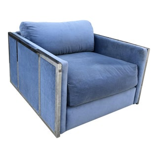 Vintage Blue Velvet & Chrome Armchair