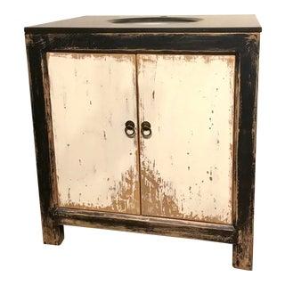 Aged Vintage Style Rustic Single Vanity Wood Sink For Sale