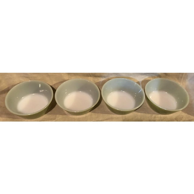 Mid-Century Modern Federal Avocado Green Cereal Bowls - Set of 4 For Sale - Image 3 of 8
