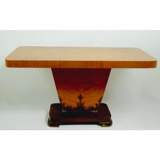 Diminutive English Art Deco Burl Console Table For Sale - Image 4 of 9