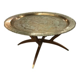 Mid-Century Brass Tray Table With Brass Capped Folding Spider Leg Stand