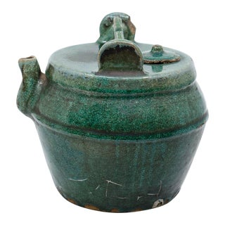 Chinese Green Glazed Stoneware Emerald Green Tea Pot For Sale