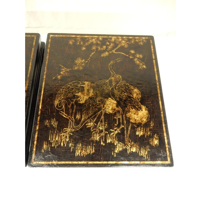 Asian 19th Century Chinoiserie Black Lacquered Coffee Tables - a Pair For Sale - Image 3 of 7