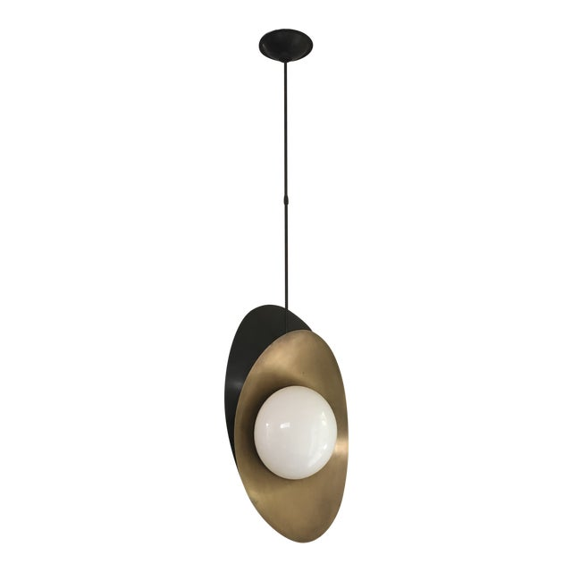 """Visual Comfort """"Nouvel"""" Bronze With Antique Brass Pendant Ceiling Light For Sale"""