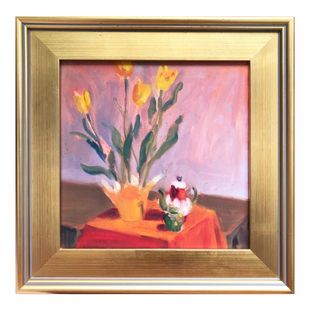 Contemporary Still Life of Tulips & Tea Pot Oil/Canvas For Sale