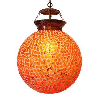 Orange Mosaic Globe Pendant Lamp For Sale