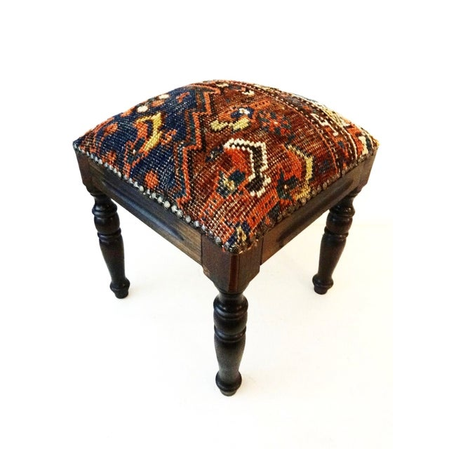 Brown Antique Tribal Qashqa'i Fragment Stool For Sale - Image 8 of 9