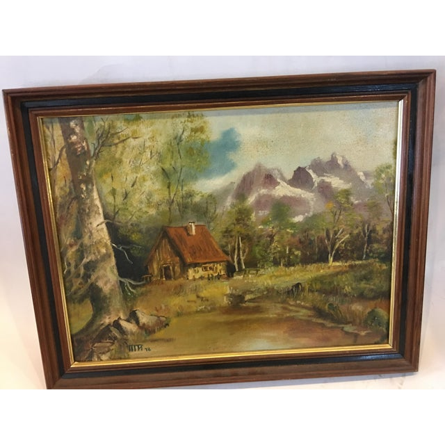 A very nice 1972 oil painting of a Hudson Valley Mountain Cabin. Initialed signature at bottom left. Great soft palette...