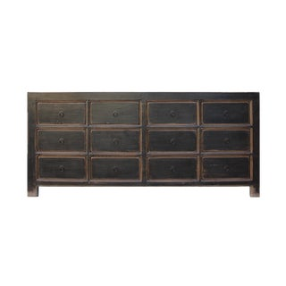 Oriental Black Lacquer 12 Drawers Console Sideboard Table Cabinet For Sale