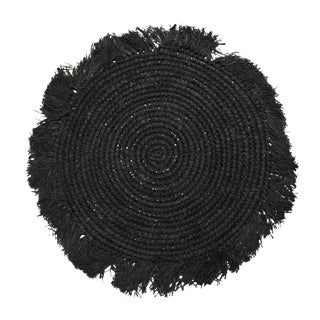 Tropical Jungle Woven Raffia Placemats, in Black - Set of 4