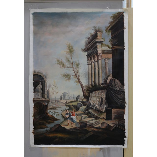 Oil on Canvas Painting of Ancient Ruins Beside a River For Sale In Charlotte - Image 6 of 7
