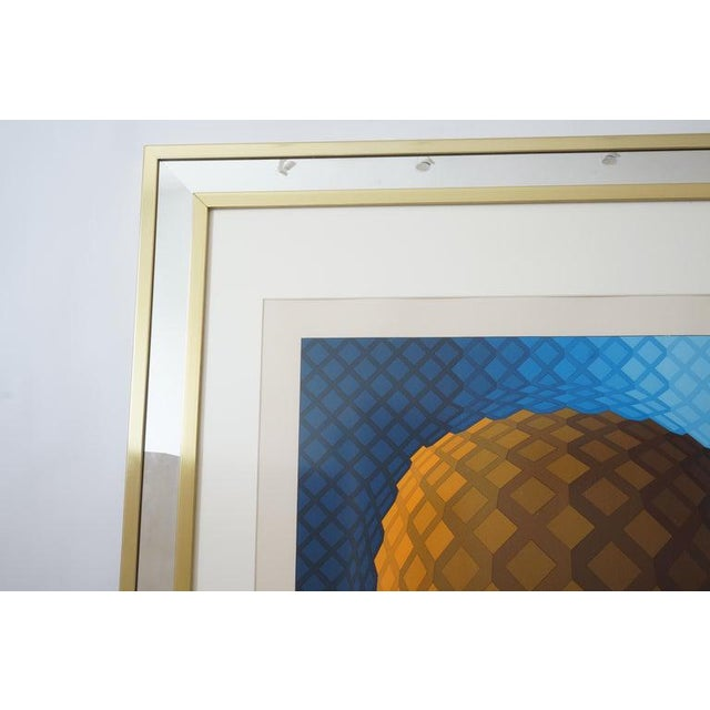Vintage Vasarely Pencil Signed and Numbered Limited Edition 226/250 Op Art Original Print Custom Mirror Framed For Sale In West Palm - Image 6 of 12