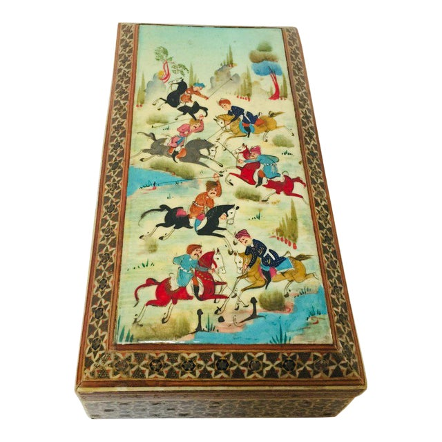 Micro Mosaic Indo Persian Inlaid Jewelry Trinket Box For Sale