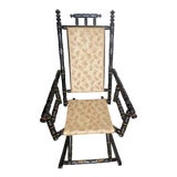 Image of Mid 19th Century Antique Victorian Ebonized Wood Rocking Chair For Sale