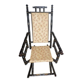 Mid 19th Century Antique Victorian Ebonized Wood Rocking Chair For Sale