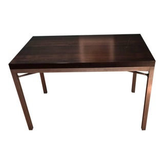 Crate & Barrel Walnut Top and Steel Base Parsons Table