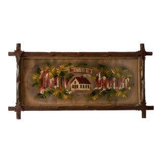 """19th Century """"Peace Be Unto This House"""" Victorian Needlepoint with Black Forest Frame For Sale"""