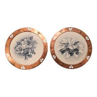 Antique Art Nouveau Porcelain Copper Framed Platter Charger Plates - a Pair For Sale