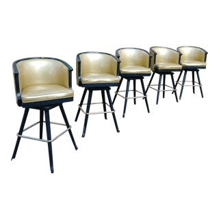 1960s Vintage Hollywood Regency Barstools- Set of 5 For Sale