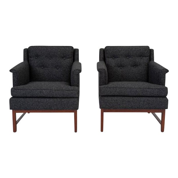 Pair of Petite Lounge Chairs by Edward Wormley for Dunbar For Sale