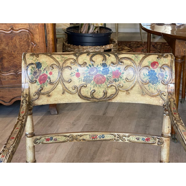 Traditional 1830 Regency Polychrome and Caned Recamier For Sale - Image 3 of 5