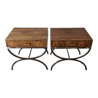 Mid Century Modern Stainless Steel Morado Veneer Side Tables - a Pair For Sale
