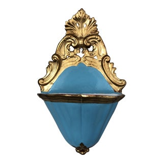 Vintage Florentine Gilt Porcelain Wall Pocket Planter For Sale