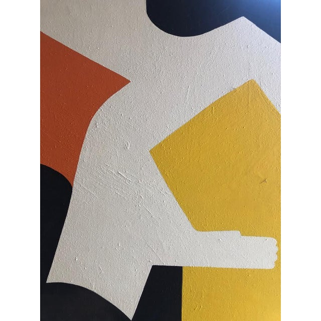 Blue 1960s Vintage Mg Christian Abstract Geometric Oil on Canvas Painting For Sale - Image 8 of 12