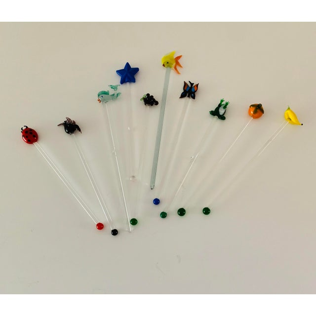 Vintage Art Glass Tropical Animals Fish Assorted Swizzle Sticks - Set of 10 For Sale - Image 12 of 12