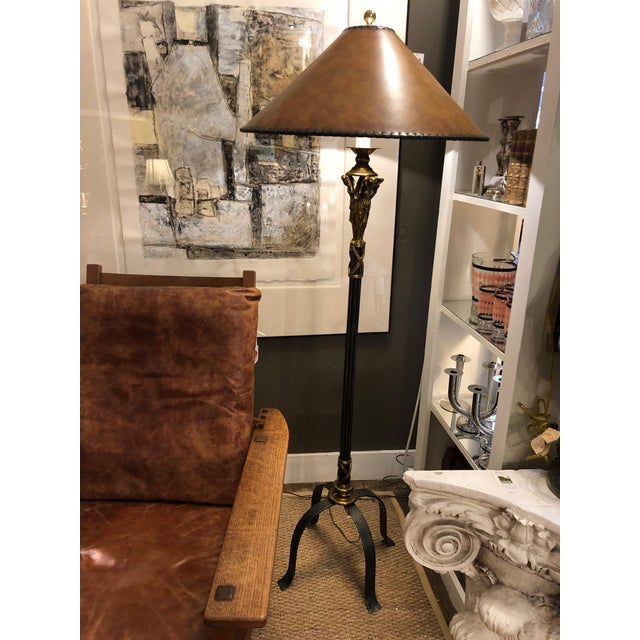 1990s Neoclassical Style Black and Gold Floor Lamp With Leather Shade For Sale - Image 5 of 9