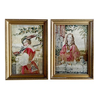 Antique French Tapestries, Framed - a Pair For Sale