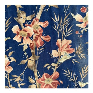 French Blue Conversational Bird Insect Floral Fabric Curtain For Sale