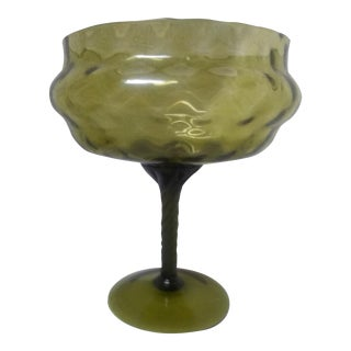 1940's Vintage Green Compote For Sale