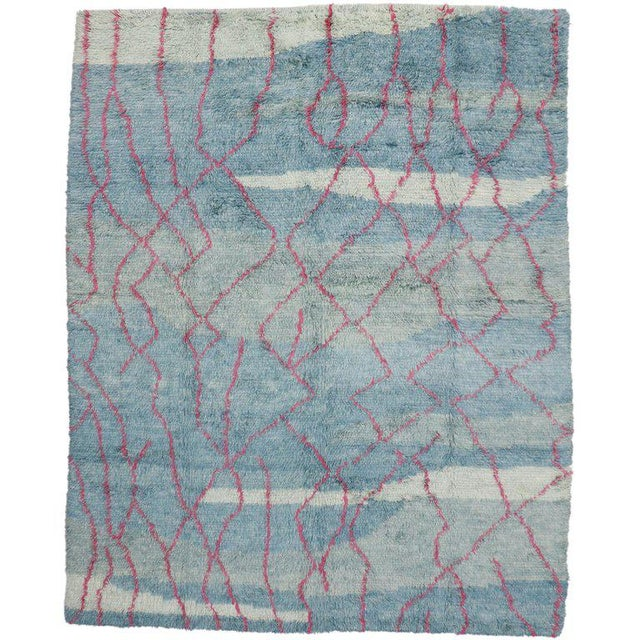 Early 21st Century Indian Blue and Pink Area Rug - 10′8″ × 13′4″ For Sale - Image 5 of 5