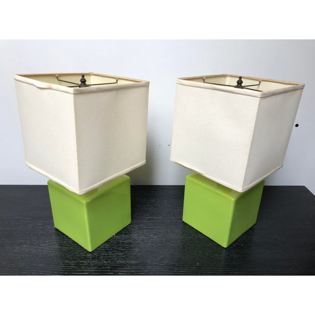 Amazing pair of vibrant Chartreuse green ceramic table lamps. Late Art Deco / Early Mid Century - these are a fantastic...