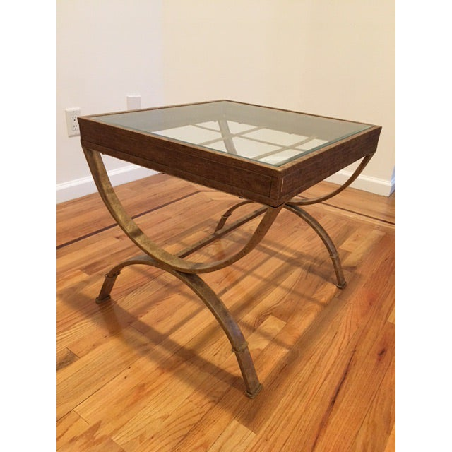 Glass Top Side Tables With Faux Gold Bases - A Pair - Image 4 of 5