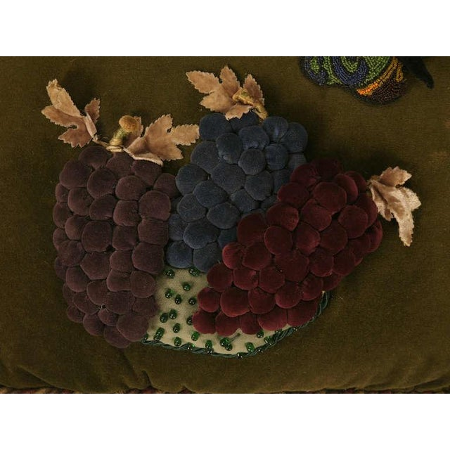 Vintage English Grapes & Butterfly Motif Velvet Pillow For Sale - Image 4 of 11