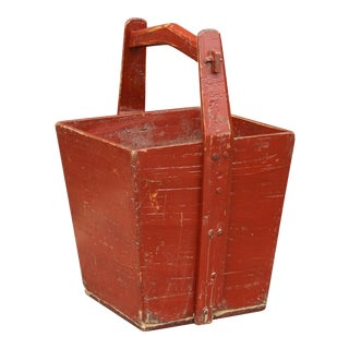 Brick Red Chinese Wooden Basket For Sale