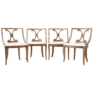 Set of Four Renzo Rutili Leather Dining Chairs For Sale