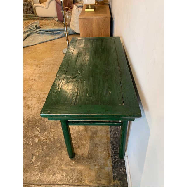 Mid 19th Century Vintage Asian Console Table in Green For Sale - Image 5 of 12