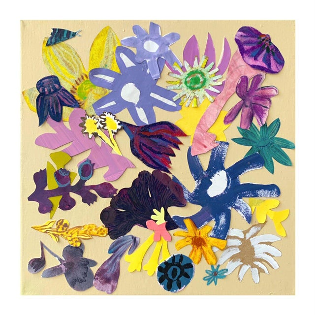 """This Hayley Mitchell collage painting, titled """"Floral Collage 4"""", is an original collage painting on thin stretched..."""