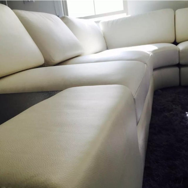 2010s T35 White Leather Sectional Sofa With Lights - 3 PC. For Sale - Image 5 of 6