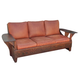 Hickory 1930's Paddle Arm Sofa For Sale
