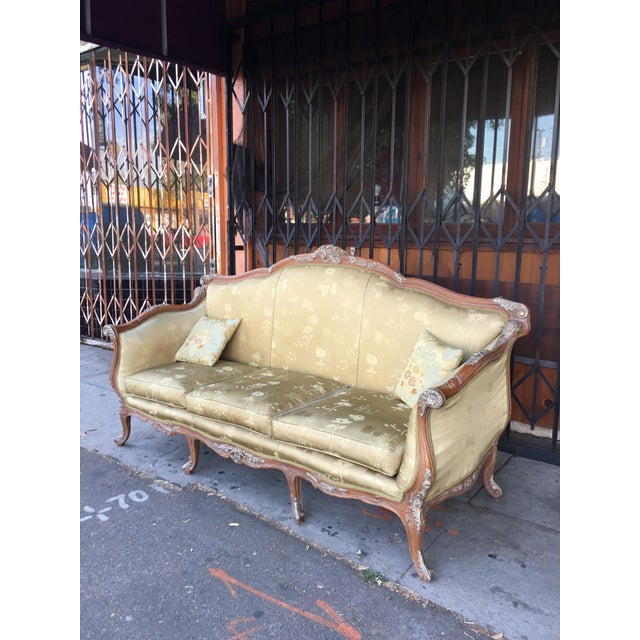 Antique French Olive Green Silk Upholstered Carved Wood Sofa For Sale - Image 4 of 10