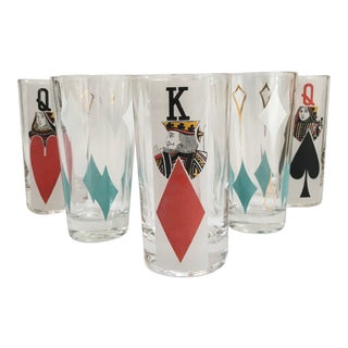 Mid-Century Play Cards Glass Tumblers - Set of 6