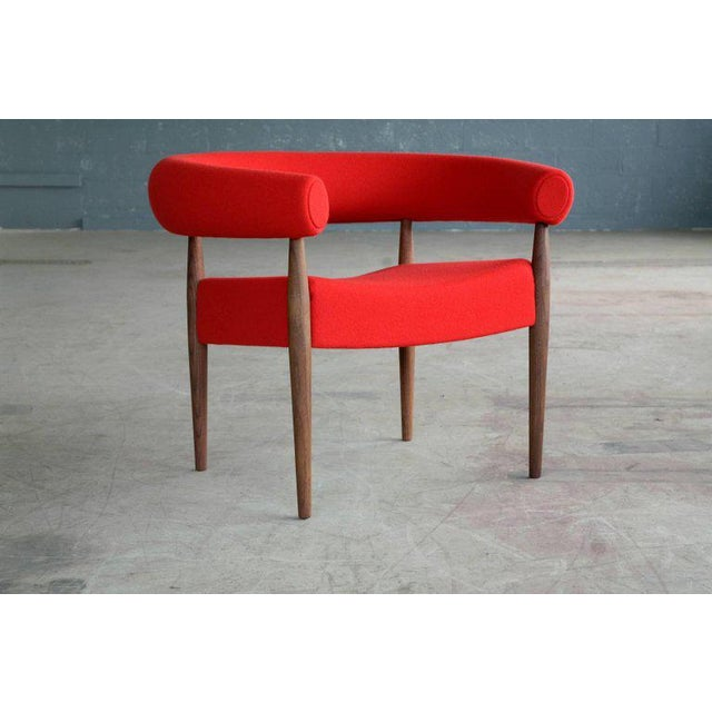 Fabric Nanna Ditzel for Getama Ring Chairs in Walnut and Wool For Sale - Image 7 of 7