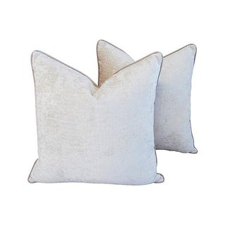 Ivory Velvet & Linen Crocodile Pillows - A Pair