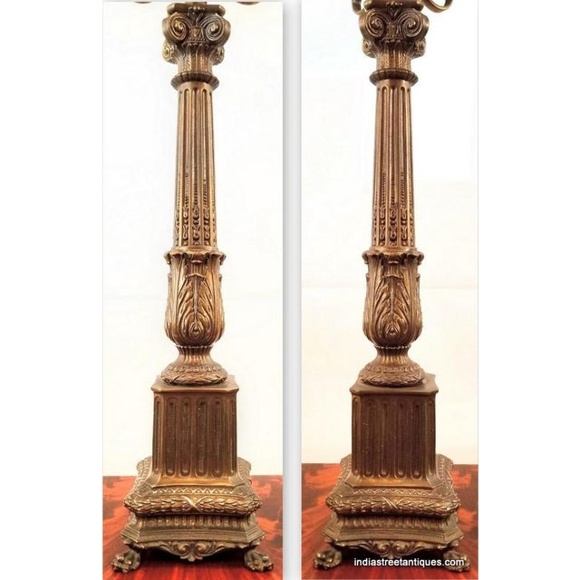 Pair Vintage 1920s French Empire Style Candelabra Table Lamps For Sale - Image 9 of 10