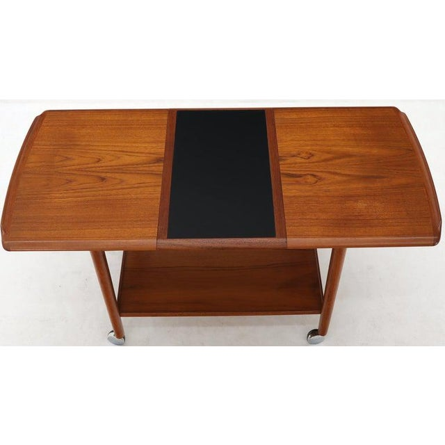 Wood Danish Mid-Century Modern Teak Expandable Cart With One Leaf For Sale - Image 7 of 13
